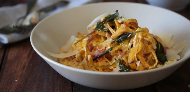 """Butternut """"linguine"""" with Blue Cheese sauce, crispy bacon and sage"""