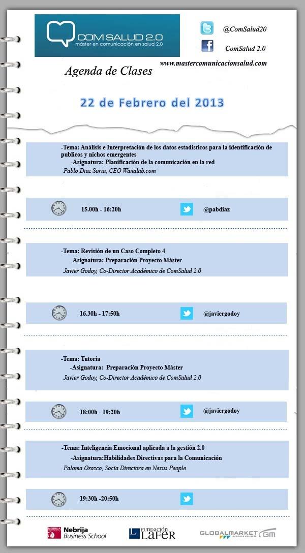 Agenda 22 de Febrero del 2013 - Máster en Comunicación en Salud 2.0 (ComSalud 2.0)