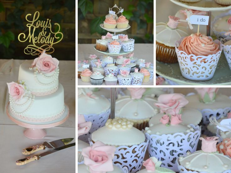 Vintage, romantic blush pink wedding cake and cupcakes with lace collars and I do toppers. wedding cake