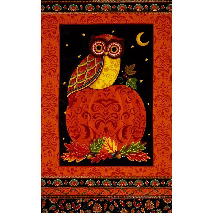 Moda Forest Fancy 24 In. Owl Panel Harvest Orange