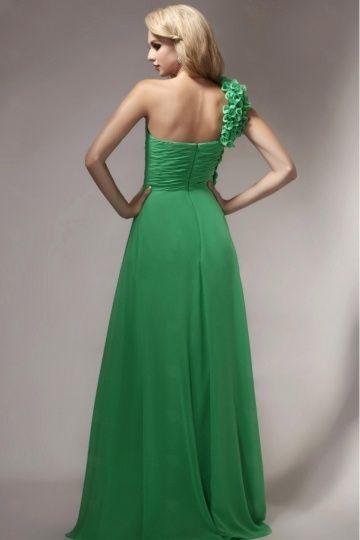 Robe de soirée verte bretelle fleurie asymétrique