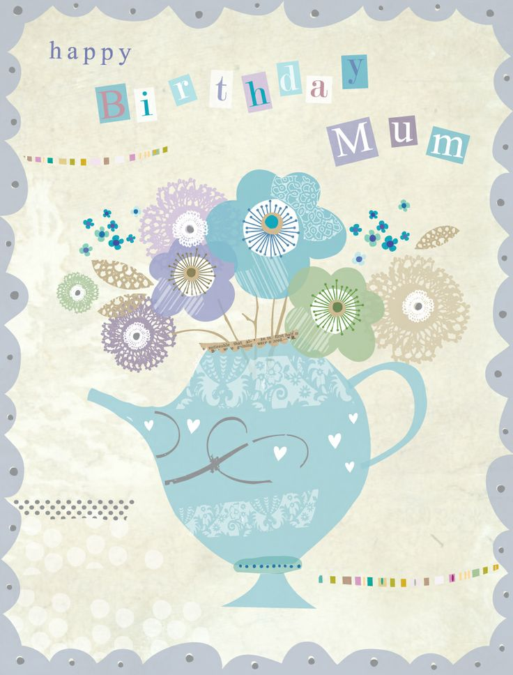 'Birthday Mum' Luxury Floral Card by Hilary Yafai, features 'Silver Foil' highlights. http://www.thewhistlefish.com/product/w017-birthday-mum-luxury-card-by-hilary-yafai