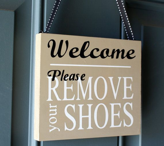 Welcome Please Remove Your Shoes door hanger, custom wood sign on Etsy, $15.00