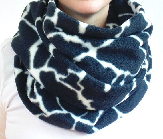 Oversized Infinity Scarf Black and White Scarf Animal Print
