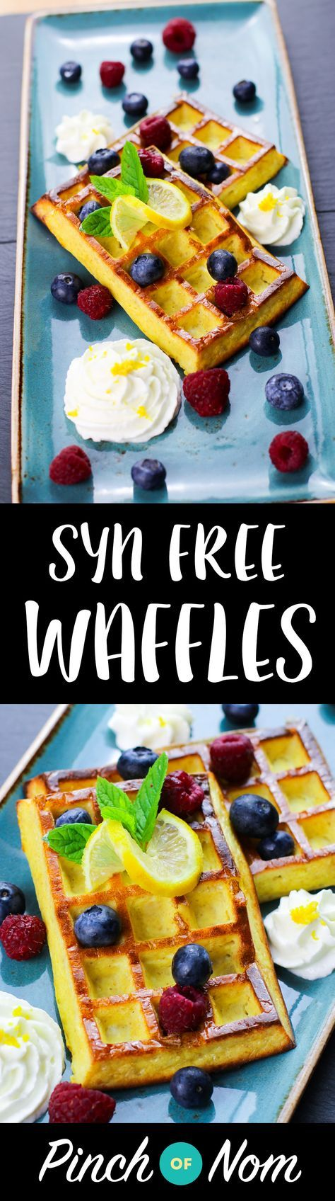 Syn Free Lemon & Blueberry Waffles | Slimming World - http://pinchofnom.com/recipes/syn-free-lemon-blueberry-waffles/