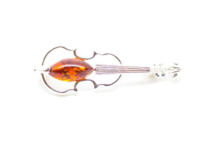 Violin brooch, Music brooch, amber brooch, silver, jewelry, brooch, resin, musical, musician, music, instrument jewellery, amber, strings by BalticBeauty925 on Etsy