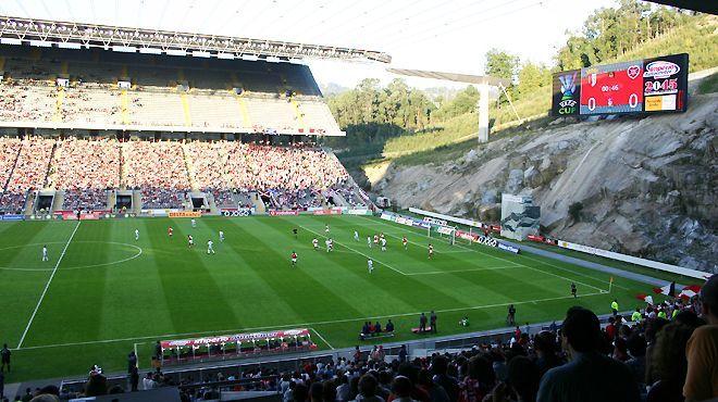 Estadio Municipal de Braga - Portugal  Also known as A Pedreira (The Quarry) as the stadium was carved into the face of the adjacent Monte Castro quarry.