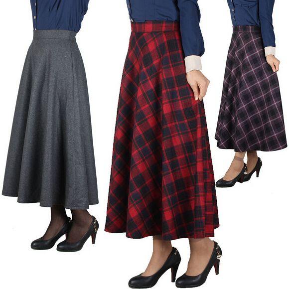 2015 новых осень зима женщин плед длинная юбка старинные полупальто шерстяные юбки длинные юбки высокой талии юбка