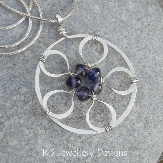 210 best handmade pendants images on pinterest wire jewelry wire iolite sterling silver pendant necklace wire flower circle handmade wire wrapped wirework jewelry audiocablefo