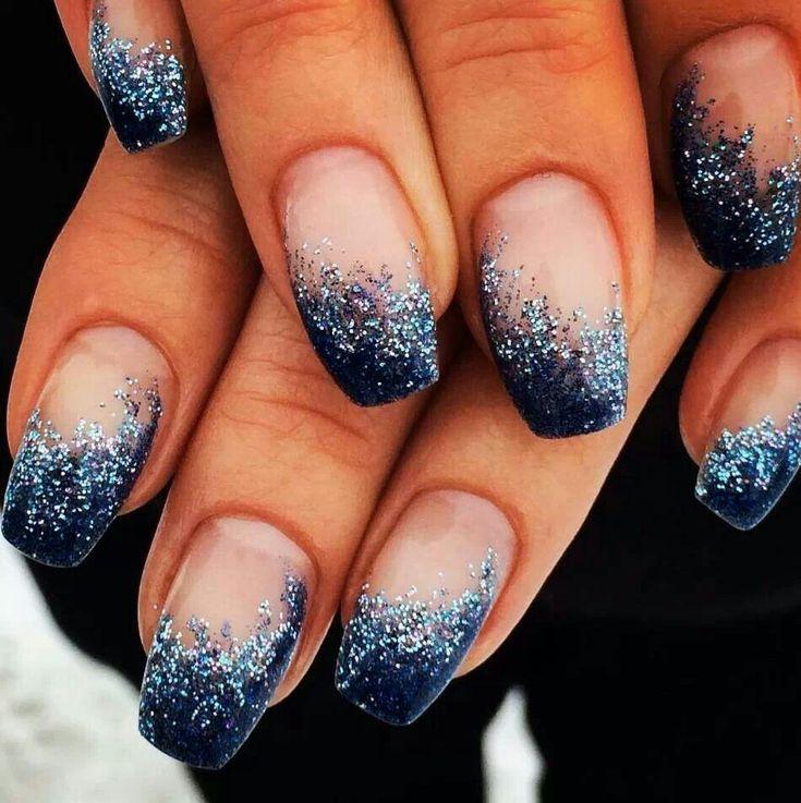 Navy blue glitter french using Light Elegance hard gel.