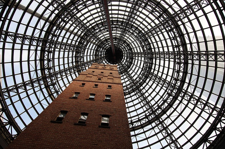 Coops Shot Tower, located beneath the world's biggest glass cone in Melbourne Central.  Melbourne, VIC, Australia.