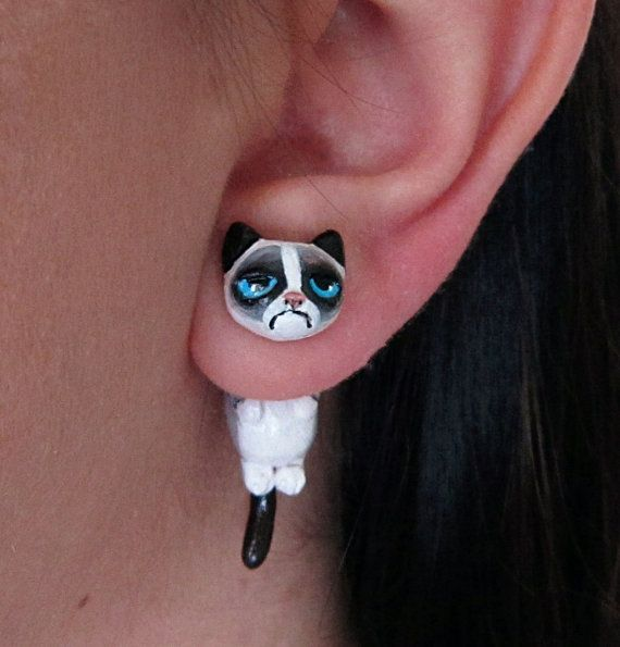 Grumpy Cat earring, Polymer Clay Faux Gauge Earring MADE TO ORDER... For Christie!!!