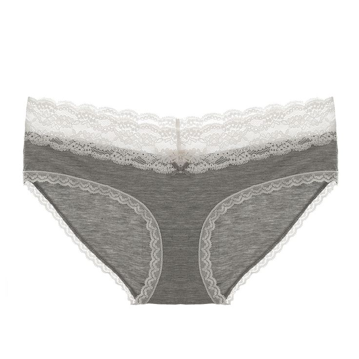 Comfortable European Cute Sexy Lace Sweet Crotchless Low-waisted Solid Concise Cotton Crotch Underpant Fitness Feminino Panties