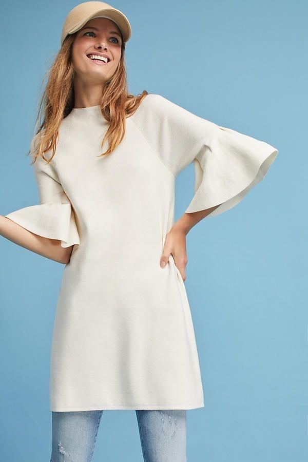 c3d375af4d9d NWT Anthropologie Moth Ivory Bell Ruffle Sleeve Mock Neck Tunic Sweater  Dress XL #Anthropologie #Tunic