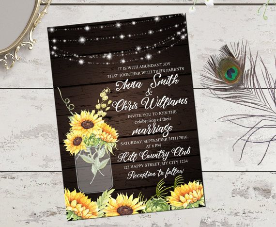 Sunflower rustic printable wedding by PrintableMemoriesCo on Etsy