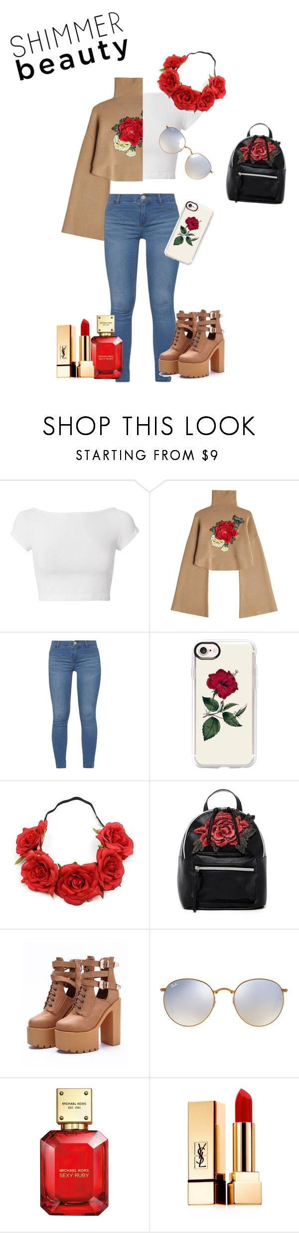 """""""Shimmer Beauty"""" by kawaii-girl44 ❤ liked on Polyvore featuring Helmut Lang, William Fan, Dorothy Perkins, Casetify, T-shirt & Jeans, WithChic, Ray-Ban, Michael Kors and Yves Saint Laurent"""