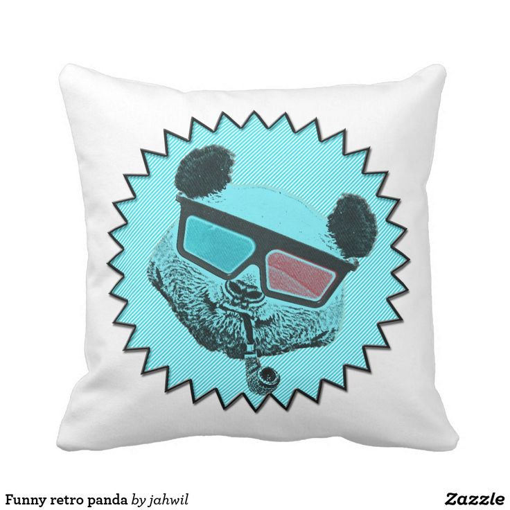 Funny retro panda throw pillow