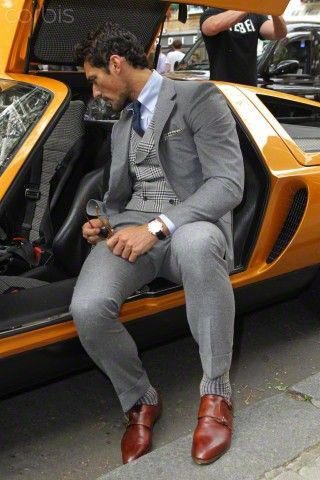 http://www.swagscent.com/ David Gandy arriving at the London Collection Mens Spring/Summer season - London