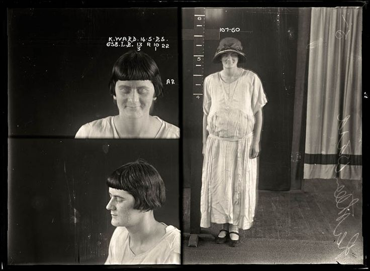 Kathleen Ward, 14 May 1925 Kathleen Ward had convictions for drunkenness, indecent language and theft. She obviously enjoyed thumbing her nose at the authorities, as can be seen in this image where she appears to have deliberately fluttered her eyes in order to ruin the long-exposure photograph. DOB: 1904.