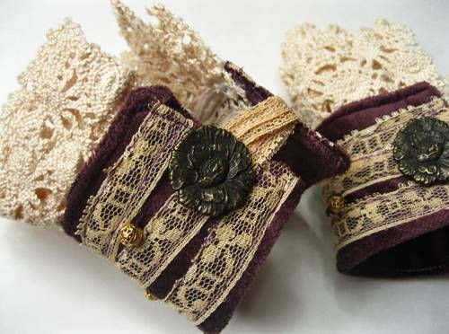 Velvet and Vintage Lace - Pair of Victorian inspired cuffs - JEWELRY AND TRINKETS