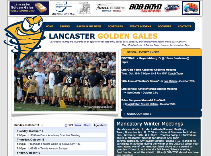 Lancaster Gales, Lancaster high school sports.  Designed by: WebChick.com: Lancaster Gale, Webchick Com,  Internet Site,  Website, Schools Sports, Web Site, Lancaster High, Webchick Client, High Schools