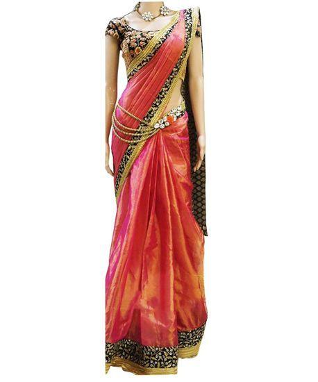 Buy New Amazing two tone shaded saree New amazing Combination Pink And orange Online India - 5122924