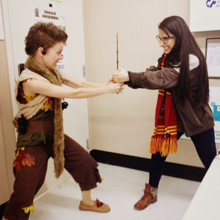 Some fun at work on Halloween 2015 as Peter Pan. We're fighting for the Elder Wand here 😂