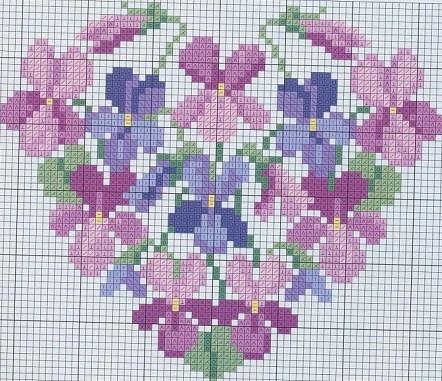 viooltjes hart - kruissteekpatroon