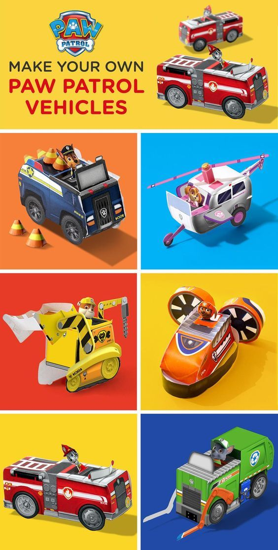 Craft your child's favorite pup and vehicle from these free printable templates.  Whether your planning a PAW Patrol birthday party or looking for a do-together activity on a rainy day, we've got you covered! Explore these PAWsome printable vehicles including Marshall's fire engine, Skye's helicopter, Rubble's bulldozer, and more!