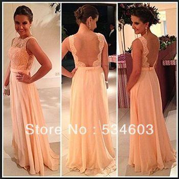Best Selling Custom Made Women Formal Chiffon Lace Backless Peach Long Evening Dress China CR-153