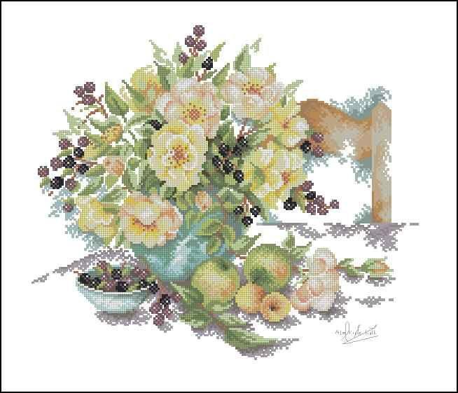 Цветочная ваза со стулом - схема вышивки крестом скачать бесплатно