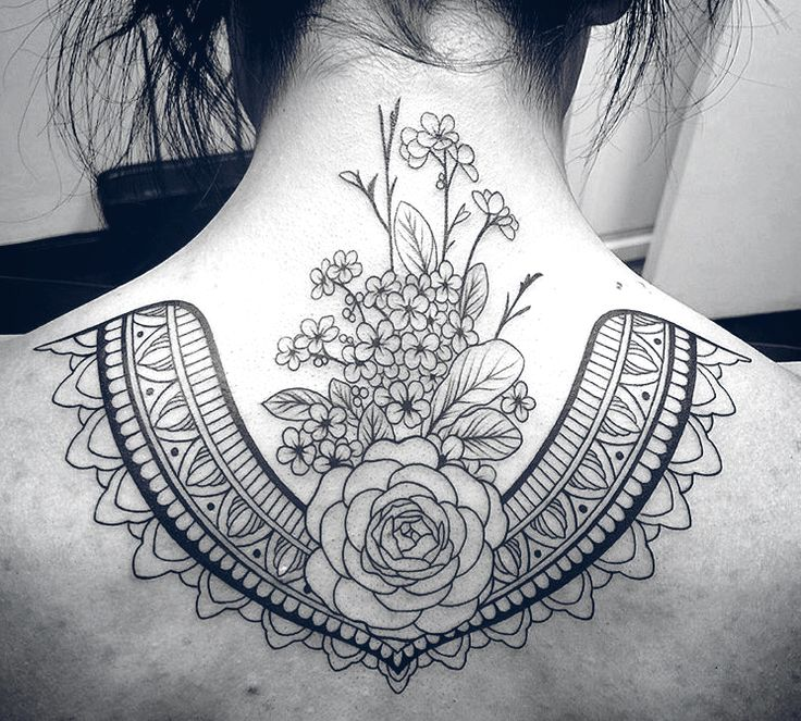 Floral • Linework • upper back tattoo by David Mushaney at Rebel Muse Tattoo