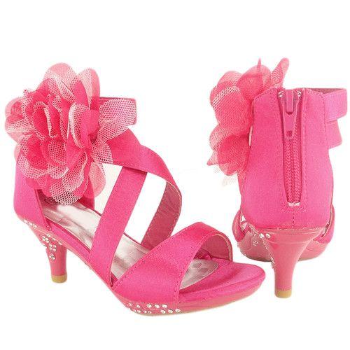 Kids Strappy High Heel Dress Sandals Flower Fuchsia Satin 9 4 Rhinestones Girls | eBay