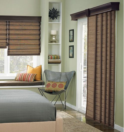 Bali sliding panels natural shades woods window and for Panel tracks for patio doors