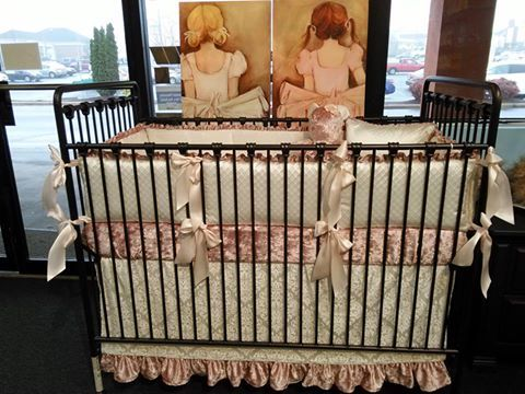 ... Colors And Textures With Large Bumper Bows In Pink Satin Ribbon By Pine  Creek Bedding On The Willa Crib By Displayed At Baby Furniture Plus Kids In  SC