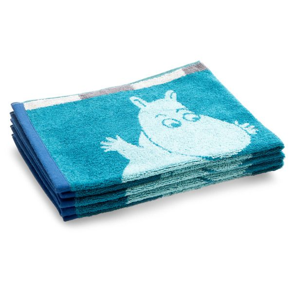 A small towel with blue and grey squares filled with beloved characters from the Moominvalley. A small amount of Moomin in the bathroom brightens it up. The Moomin-towels are inspired by Tove Jansson's original drawings and are authentic ©Moomin Characters™ licensed products.