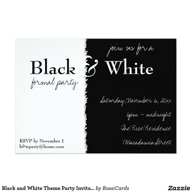Invitation noire et blanche de partie de thème | Invitations
