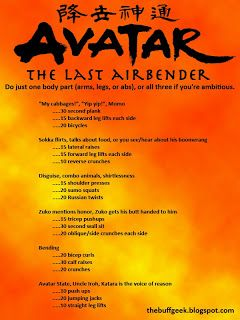 Avatar: The Last Airbender exercise game for arms, legs, abs. Work out while you watch TV!