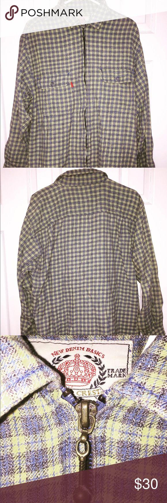 Vintage Bugle Boy Gold Crest Flannel Shirt. Pre-owned. Normal wear.  Zip front. …