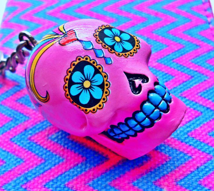 My Beautiful Pink & Turquoise Sugar Skull Keychain