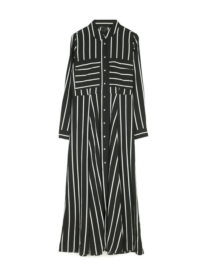 Vestido camisero largo de rayas - Vestidos | Stradivarius España