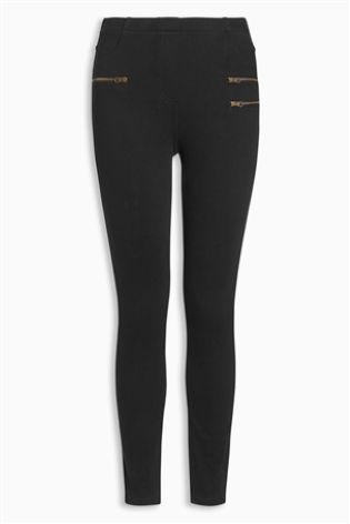 Black Zip Denim Leggings