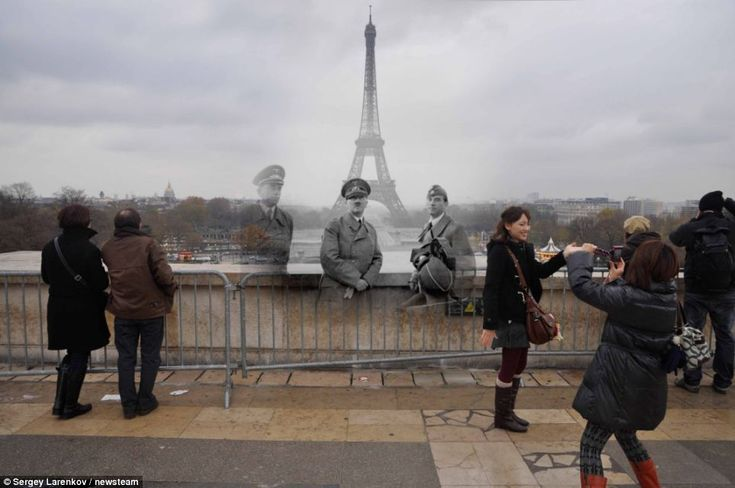 Contrast: 1940 snap of Hitler in Paris is merged with a shot of exact location more than 70 years on    Read more: http://www.dailymail.co.uk/news/article-2116708/Russian-troops-storm-Reichstag-Extraordinary-images-merge-images-European-city-streets-war-peace.html#ixzz1pZxUROGm  by Sergey Larenkov