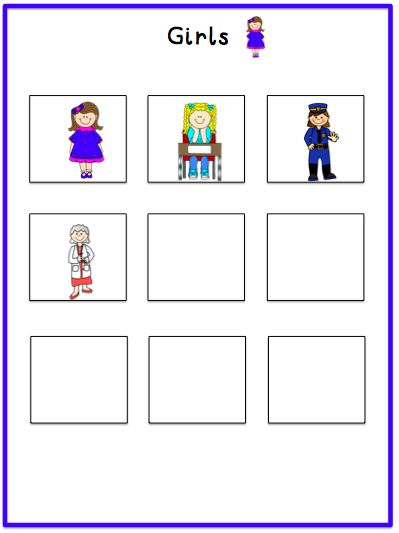 Sorting Girls vs. Boys.  Great file folder task!