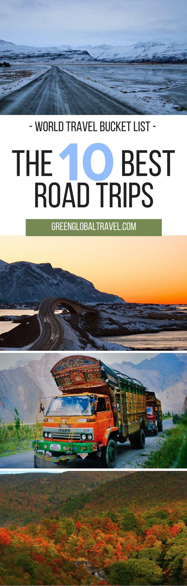 Here are ten road trips for your world travel bucket list!   Norway   Spain   France   North Carolina   Virginia   Alaska   Australia   China   Pakistan   South America   Iceland   Namibia   New Zealand  