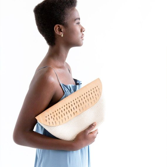 Cotton and leather clutch by MiaMelange on Etsy