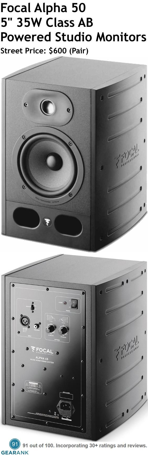 "Focal Alpha 50 5"" 35W Class AB Powered Studio Monitors. Features:5"" polyglass cone woofer 