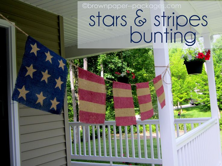 Stars & Stripes Bunting!: Burlap Flags, Burlap Buntings, Brown Paper Packages, Burlap Stars, Burlap Banners, 4Th Of July, Stripes Buntings, July 4Th, Brown Paper Packaging