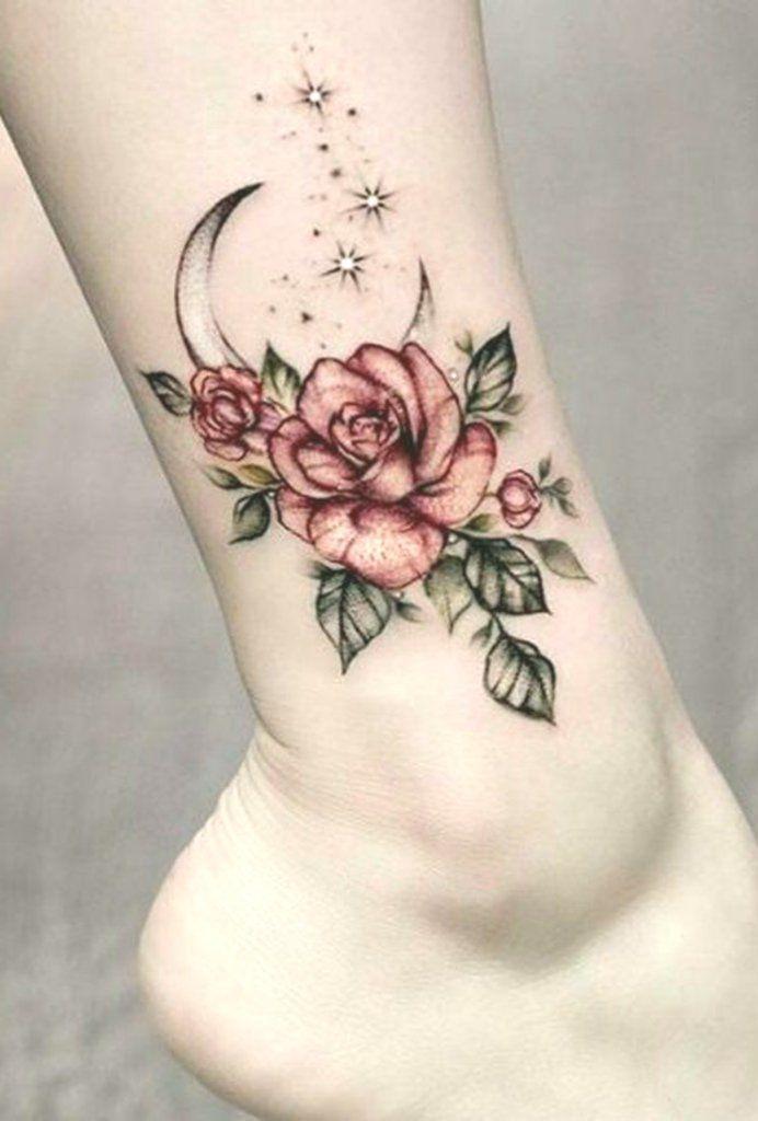 VIntage Floral Moon Foot Ankle Tattoo Ideas for Women – www.MyBodiArt.com – Sama…