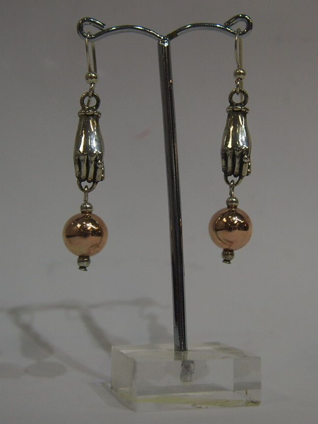 Jewellery-Earrings-Designer- Von Treskow- silver hands and rose gold ball Drop Earrings